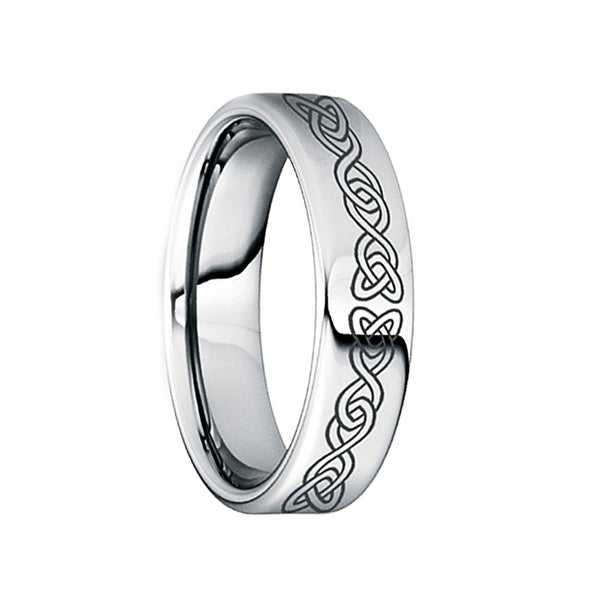 PONTIUS Polished Engraved Black Celtic Knot Tungsten Wedding Ring by Crown Ring - 6mm