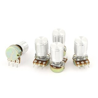 5 Pcs B5K 5K Ohm 13mm 3 Terminals Audio Single Linear Taper Potentiometer
