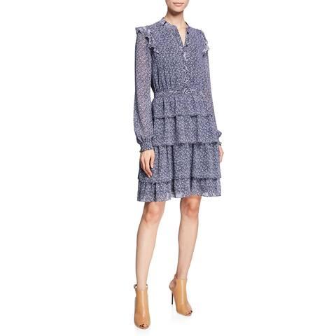 MICHAEL Michael Kors Womens Micro-Floral Layered Dress 14 True Navy & White