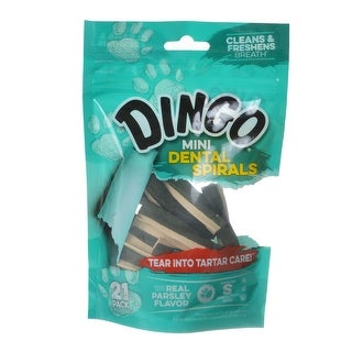 Dingo Dental Spirals Fresh Breath Dog Treats Mini - 21 Pack