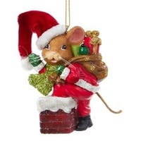 "3.25"" Mouseville Santa Decorative Christmas Ornament - RED"