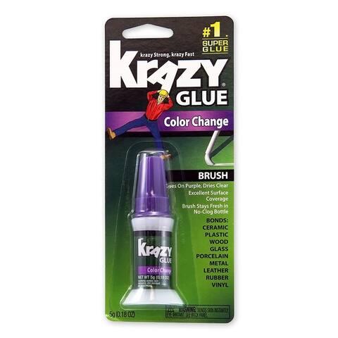 Krazy Glue KG98848R Brush-On Glue with Color Change Formula, 5-Gram