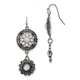 Silvertone Acrylic Cameo Glass Crystal Shepherd Hook Earrings