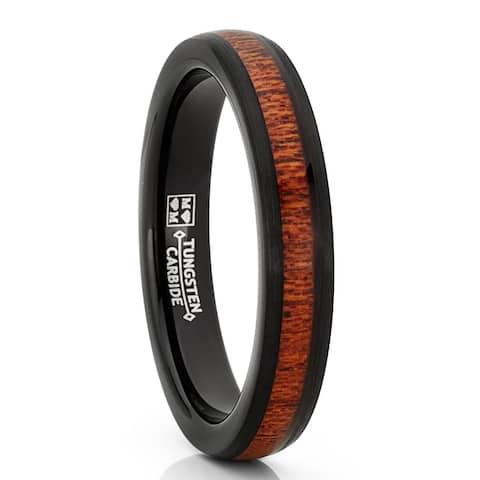 Oliveti Men's Women's Black Tungsten Wedding Band Engagement Ring, Real Wood 4mm