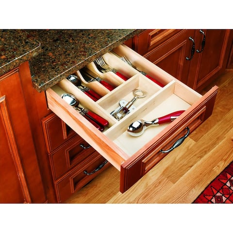 """Rev-A-Shelf 4WCT-1 4WCT Series 14-5/8"""" Wide Trimmable Cutlery Tray with 7 Compartments - Natural Wood"""