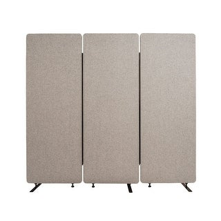 Offex Wall Partition Privacy Screen Freestanding Acoustic Room Divider for Office, Classroom, Libraries - 3 Pack, Misty Gray