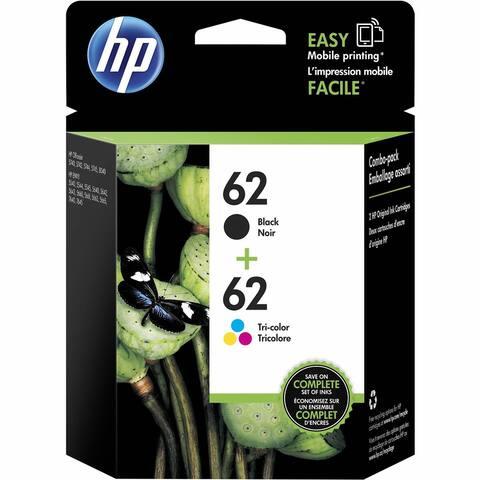 HP 62 Ink Cartridge - Black, Tri-color - Inkjet 2 / Pack - Black