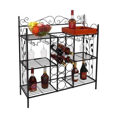6-Shlef Metal Baker's Rack with Wine Racks & Wine Glasses Holder - N/A