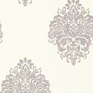Brewster 671-68502 Duchess Silver Damask Wallpaper