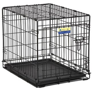 MidWest 824 Contour Single-Door Folding Dog Crate with Divider Panel, 24""
