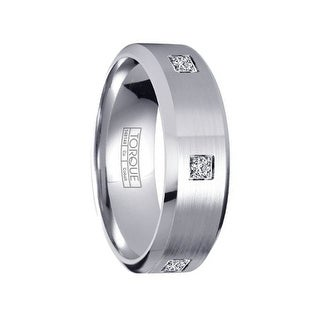 Brushed Cobalt Wedding Band with Polished Beveled Edges & 3 Diamonds by Crown Ring - 7mm
