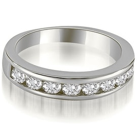 1.15 cttw. 14K White Gold Classic Channel Set Round Cut Diamond Wedding Ring