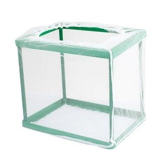 Unique Bargains Detachable Rectangle Shaped White Net Green Frame Aquarium Breeder