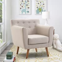 Gymax Arm Chair Tufted Back Fabric Upholstered Accent Chair Single Sofa Wood Leg Beige