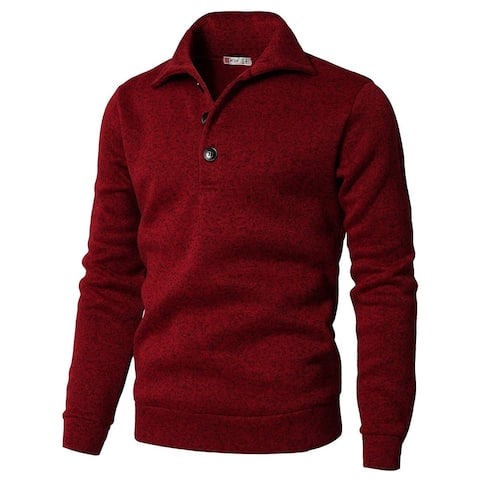 H2H Mens Red Size Large L Slim Fit Pullover Knitted Henley Sweater