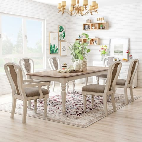 Furniture of America Fant Traditional White Wash Dining Set