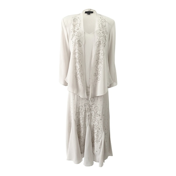 R&M Richards Women's Beaded V-Neck Dress and Jacket (10, Champagne) - Champagne - 10