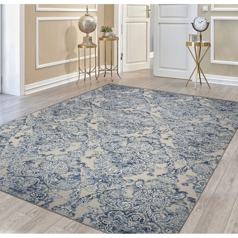 Couristan Cire Royal Gate Lace Ivory-Blue Area Rug