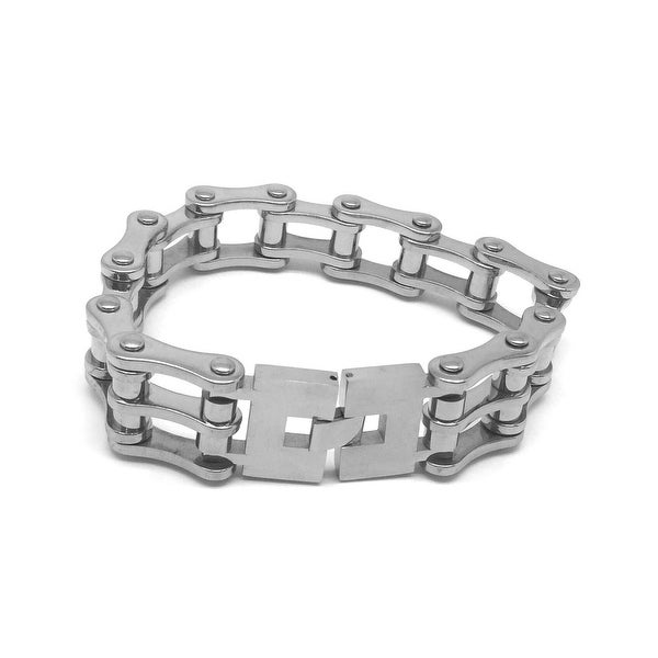 Stainless Steel Bicycle Chain Bracelet With Clasp Lock