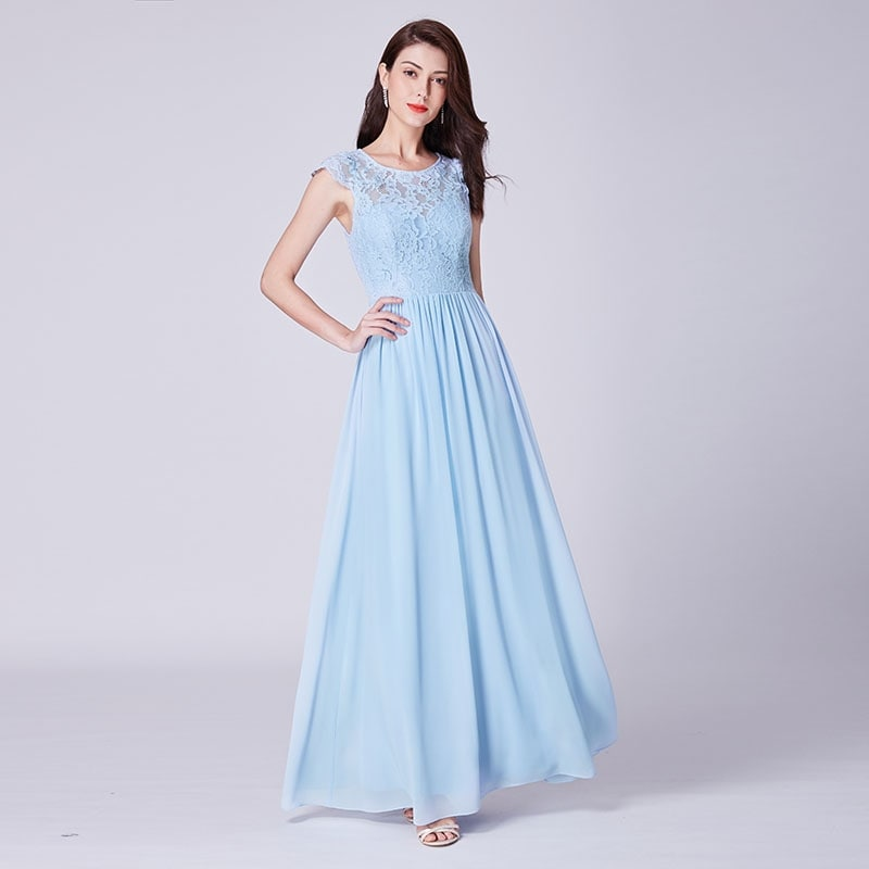 Ever Pretty Womens Elegant A Line Floor Length with Lace Bodic Cap Sleeves Long Chiffon Evening Dresses 07364