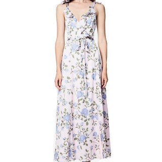 Fame And Partners Womens Floral-Print Ruffle Maxi Dress