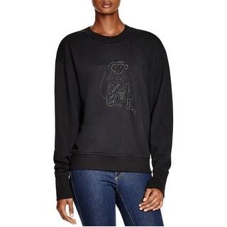 DKNY Womens Sweatshirt Rib Trim Pullover
