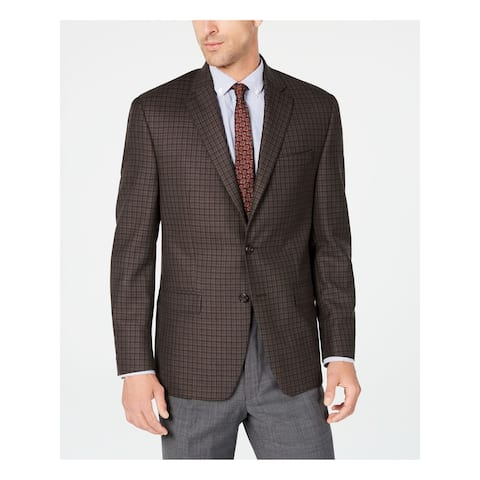 RALPH LAUREN Mens Brown Ultraflex, Plaid Work Suit Separate Size 46R