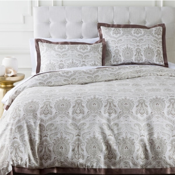 Brown and Grayish White Damask Cotton Full/Queen Duvet Cover and Shams