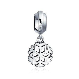 Bling Jewelry Dangle Christmas Snowflake Charm 925 Sterling Silver Holiday Bead for European Bracelet