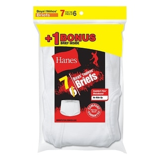 Hanes Boys' TAGLESS White Briefs 7-Pack (Includes 1 Free Bonus Boxer Brief)