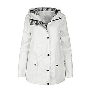 Urban Republic Girls White Light-Weight Hooded Raincoat