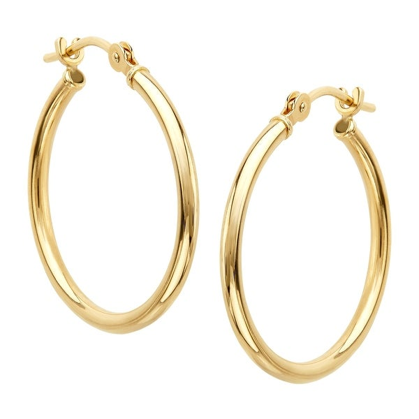 Just Gold Petite Polished Hoop Earrings in 14K Gold
