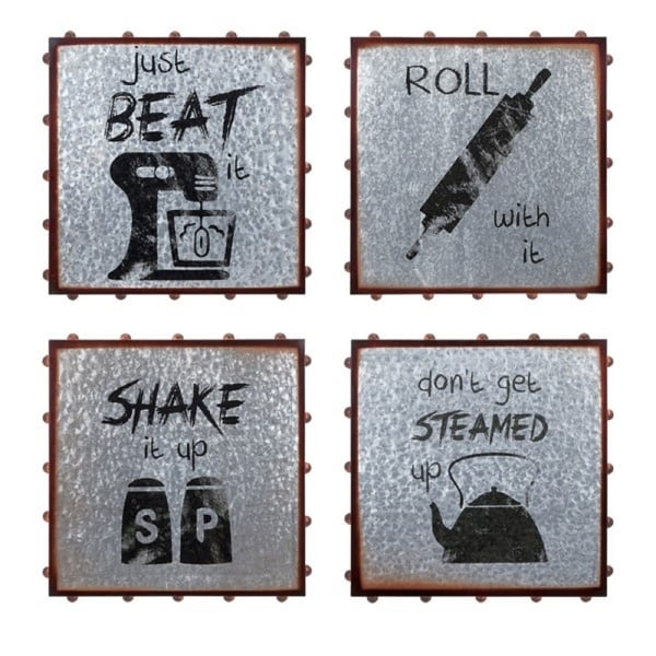 """Pack of 4 Gray and Brown distressed Finish Honeybee Party Wall Decors 16.5"""" - N/A"""