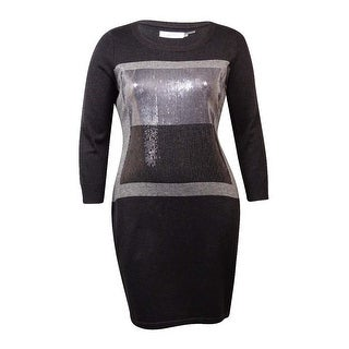 Calvin Klein Women's Colorblock Sequin Front Sweater Dress - charcoal multi