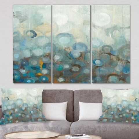 Porch & Den 'Blue and Bronze Dots on Glass II' Modern Canvas Art