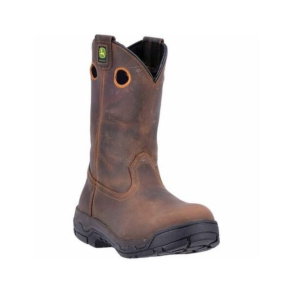 John Deere Work Boots Mens Alloy Toe Oil Heat Resist Dark Brown