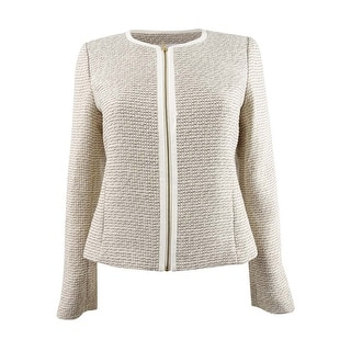 Link to Calvin Klein Women's Petite Tweed Zip-Up Jacket - Oyster/Ivory Similar Items in Petites