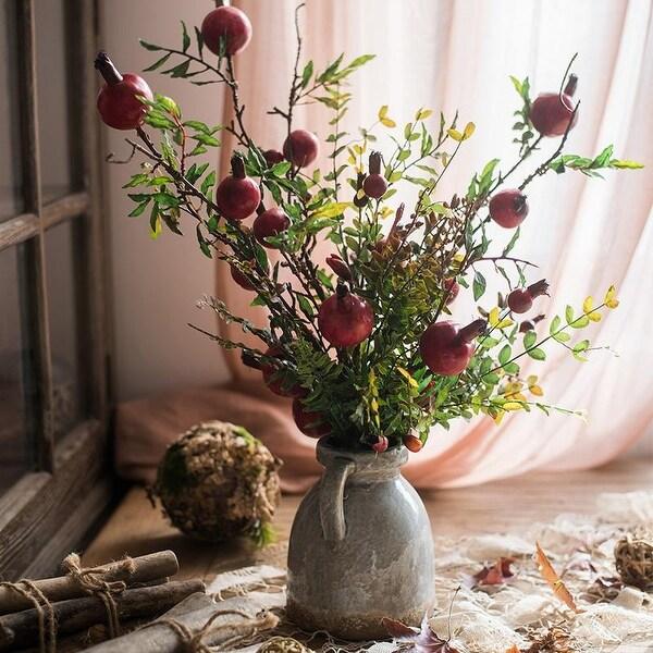RusticReach Red Pomegranate Bouquet in Ceramic Vase Set