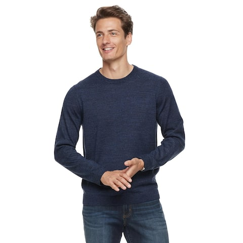 Bloomingdales Mens Merino Wool Crewneck Sweater X-Large XL Steel Blue Pullover