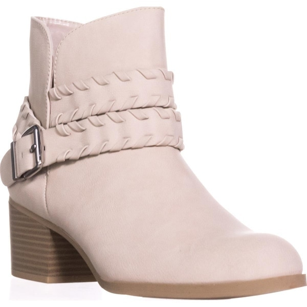 SC35 Dyanaa Stitched Harness Ankle Boots, Ice