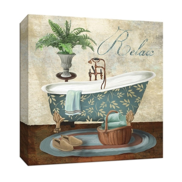 """PTM Images 9-147631 PTM Canvas Collection 12"""" x 12"""" - """"Bath Relax"""" Giclee Bathroom Art Print on Canvas"""