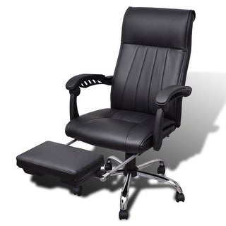 vidaXL Black Artificial Leather Office Chair with Adjustable Footrest