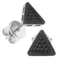 Prism Jewel 0.10CT Round Black Color Diamond Triangle Shaped Push Back Stud Earring