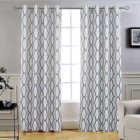 DriftAway Mason/Geo Thermal Insulated Blackout Grommet Window Curtain Panel Pair