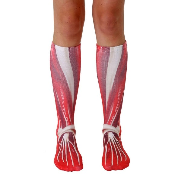 Unisex Muscle Knee High Socks - Red
