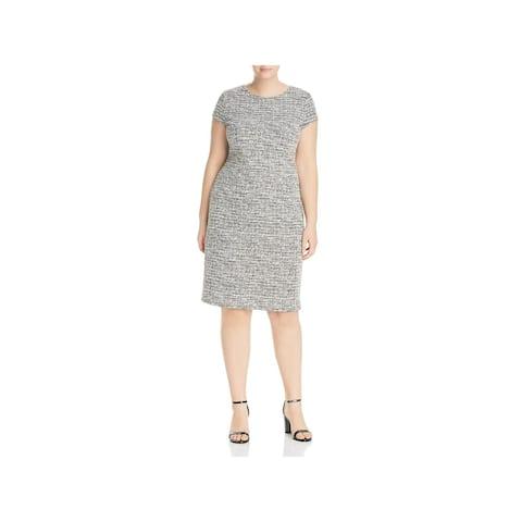 Love...Ady Womens Plus Bodycon Dress Tweed Cap Sleeves - 1X