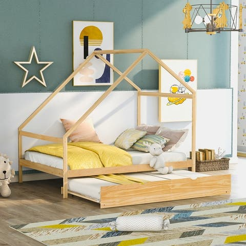 Nestfair Full Size Wooden House Bed With Trundle