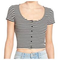 BP. NEW Black White Size XS Junior Striped Ribbed Button-Down Blouse DEAL