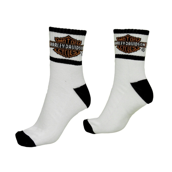 Men's Black and White Harley Davidson Logo Athletic Crew Socks