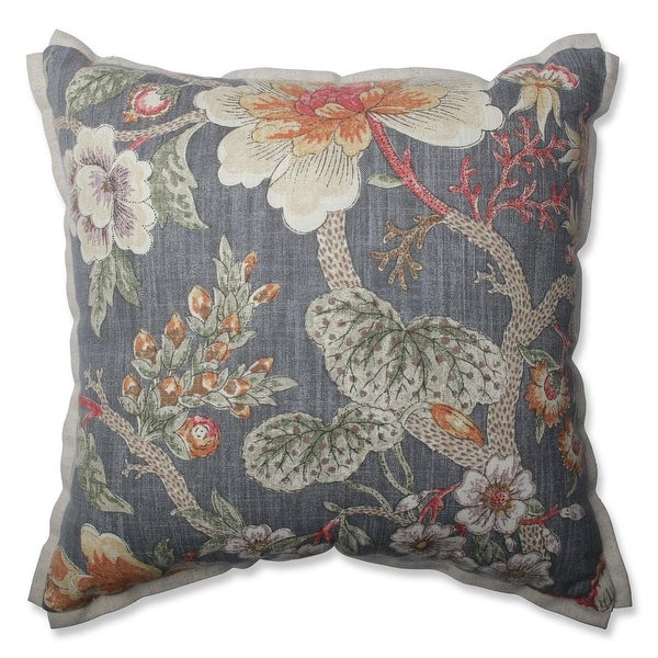 "16.5"" Vintage Blooms Gray Floral Indoor Throw Pillow"